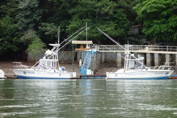 2 sport fishing boats at the weighing station Boca Chica Panama