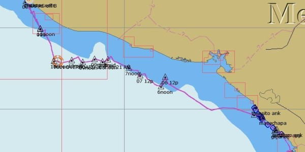 sailed route along Central American Pacific coast