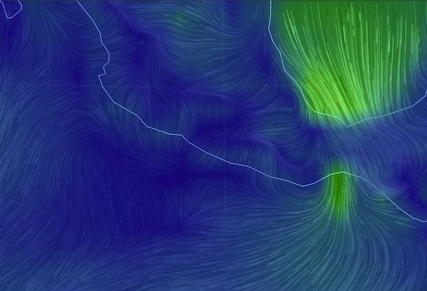 strong winds blow across the isthmus into the Gulf of Tehuantepec