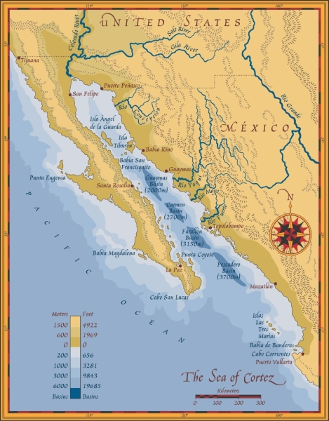 Guaymas is halfway down the mainland side at almost 28N, as are Tampa-St. Pete and Corpus Christi. Map courtesy of desert museum.org.