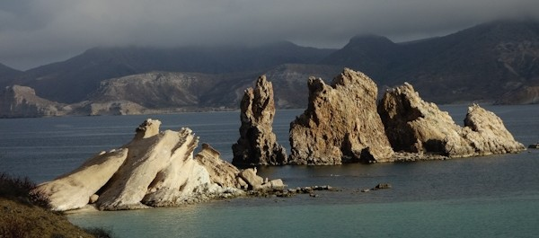 Jagged eroded small island and peninsula in the bay called San Juanico.