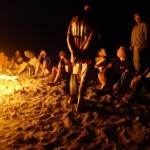 Easter eve campfire on the beach