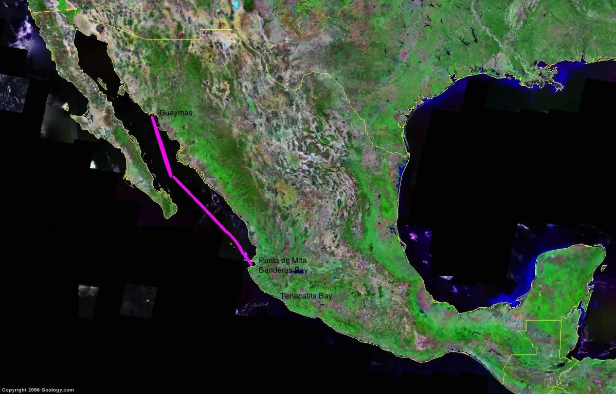 Satellite image of mexico track labeled copy