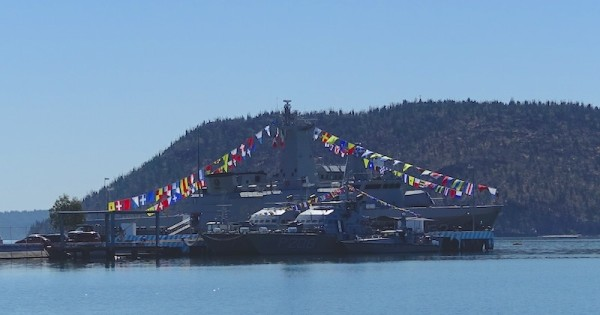 Dressing ship in honor of Benito Juarez at the Navy Base at Guaymas