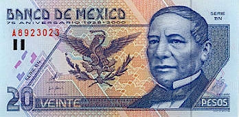 The most used piece of currency in Mexico is the 20-peso note featuring Benito Juarez. It's plastic, not paper, with secret codes embedded.