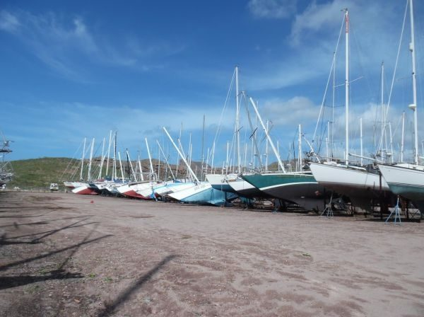 Up in nearby San Carlos, Newton toppled a row of sailboats as if they were dominos. Photo courtesy Latitude 38.