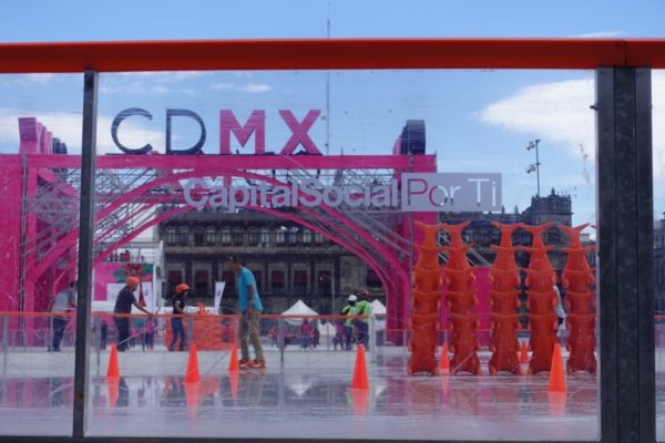 Iceskating in the main plaza Mexico
