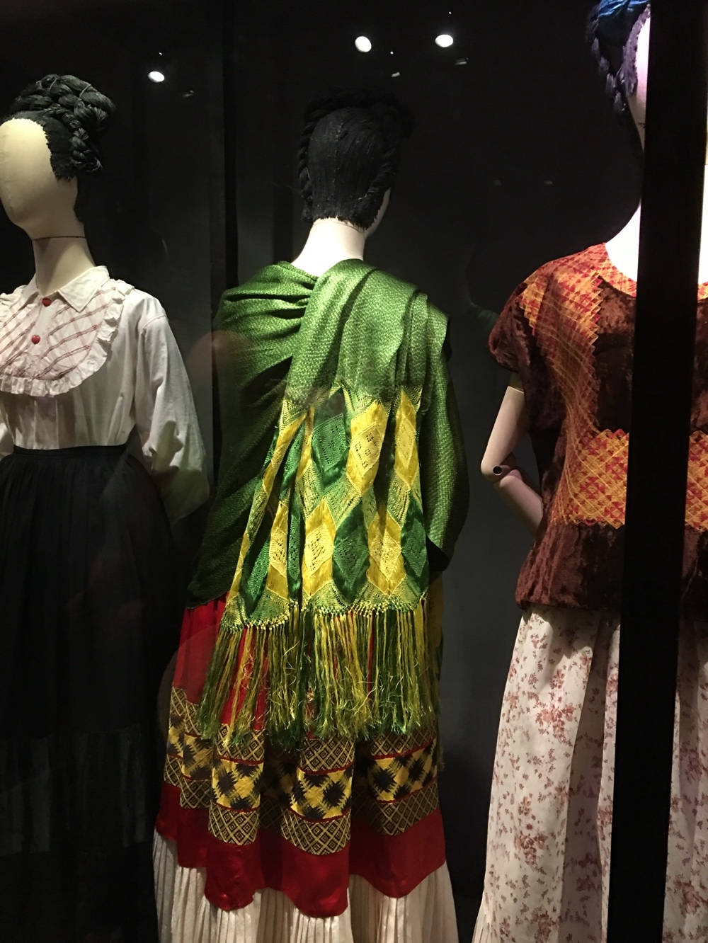 3 Frida Kahlo dresses from rear