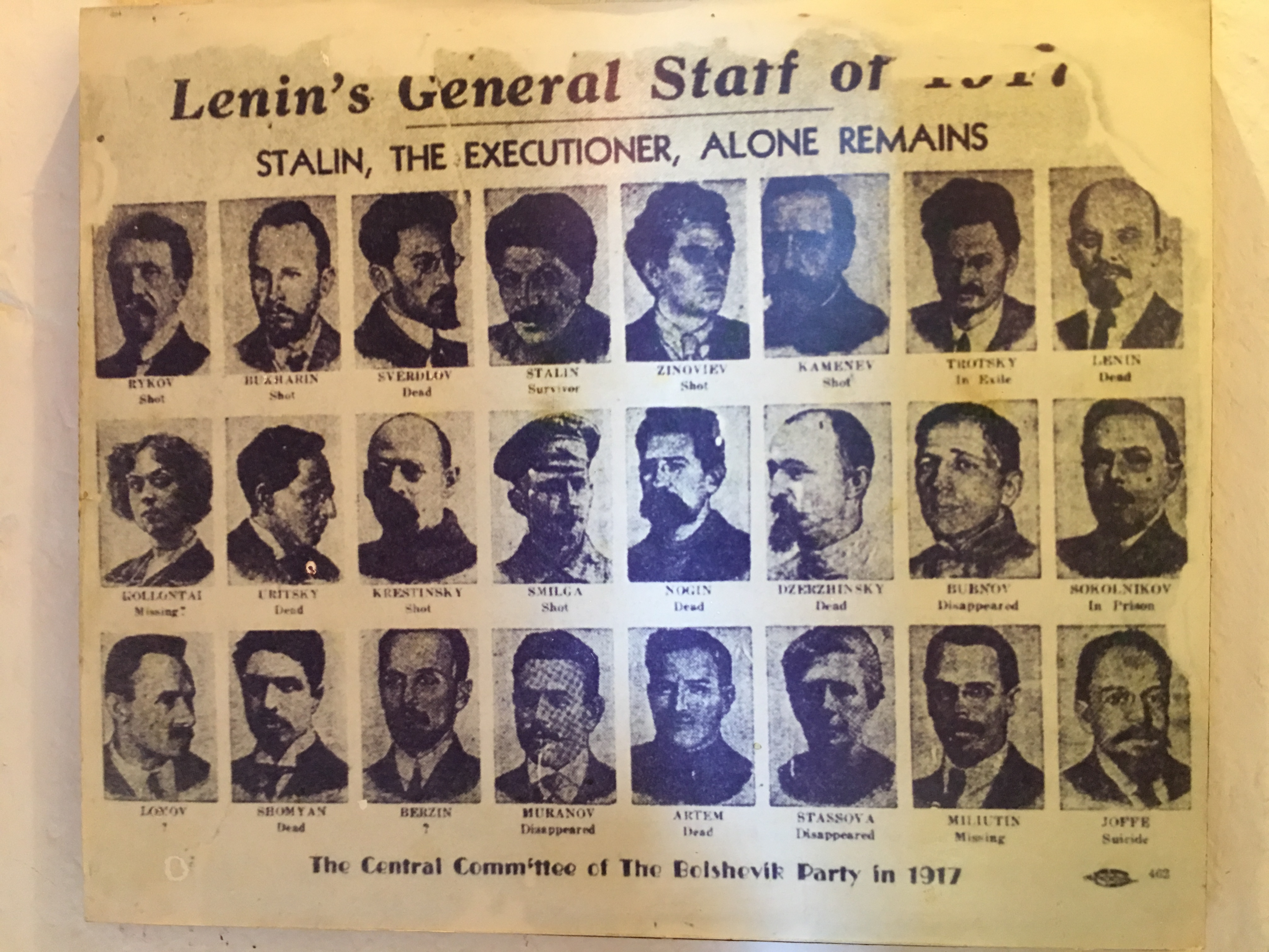 Photos of Stalin's enemies.