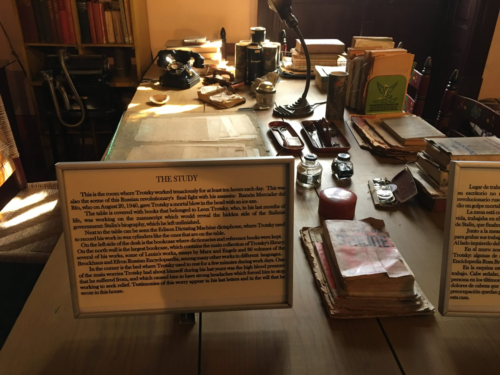 Trotsky's desk remains as it was, or so they say. It looks quite tidy to me, not at all like any desk I've ever had.